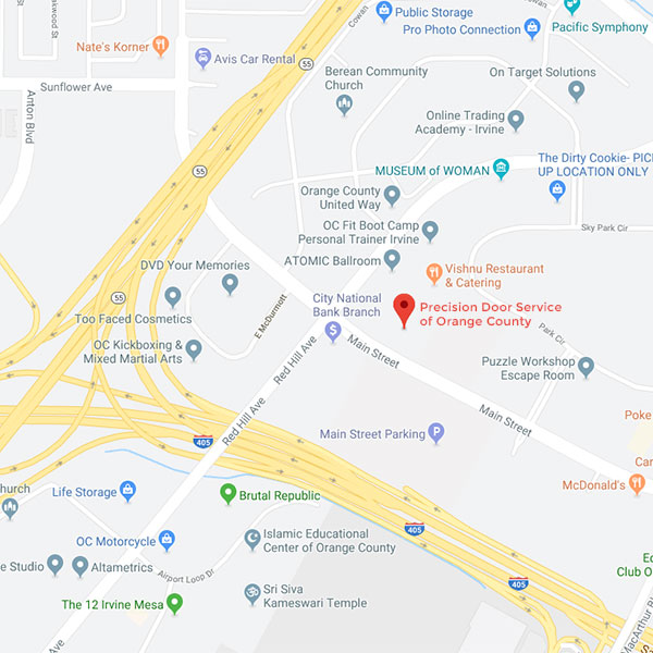 Map for Precision Door Service of Orange County